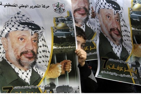 Posters of former PA Chairman Yasser Arafat