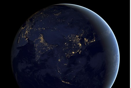 The Earth at night, captured by NASA