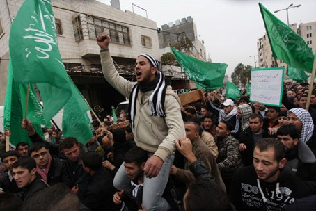 Hamas flags at Salamiya's funeral