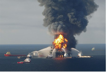 Explosion on BP oil rig Deepwater Horizon