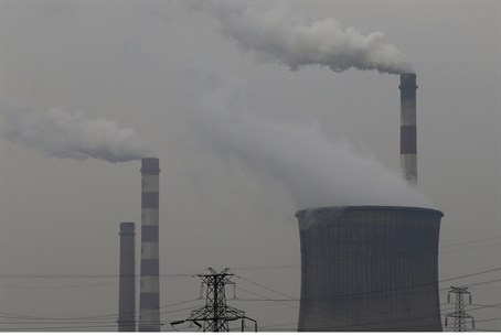 Smoking chimneys and cooling tower of a coal-