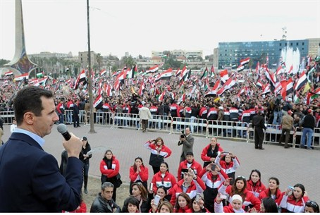 Assad speaks to supporters in 2012