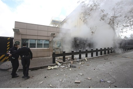 Explosion at the entrance of the U.S. Embassy