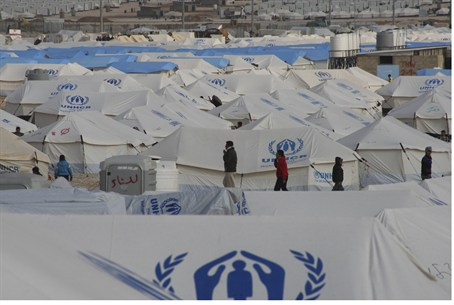 Za'atri tent city for Syrian refugees in Jord