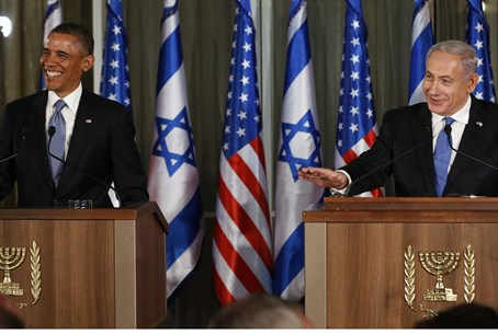 Obama and Netanyahu at press conference in Je