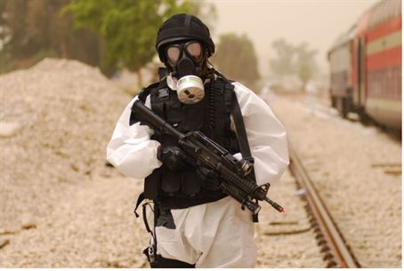 Chemical warfare drill illustration