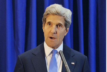 U.S. Secretary of State John Kerry at a news