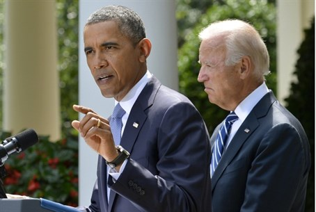 Obama in Rose Gardem with VP Biden