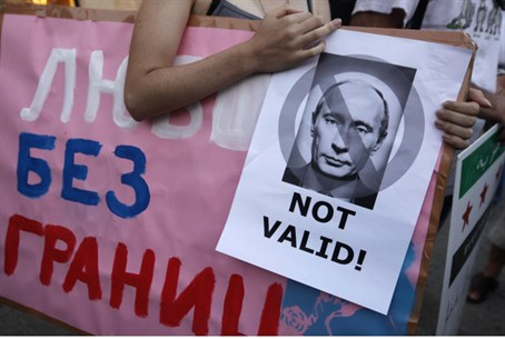 Gay activists protest Russian policy