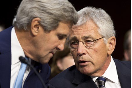 Kerry and Hagel before meeting with Senate Fo
