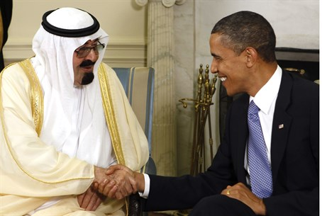 President Barack Obama meets with King Abdull