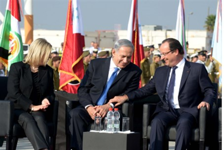Sarah and Binyamin Netanyahu with Hollande