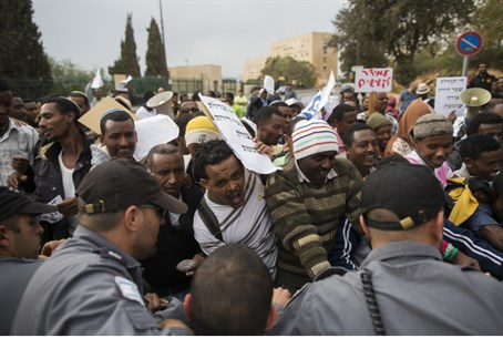 Clashes as immigrants protest over housing