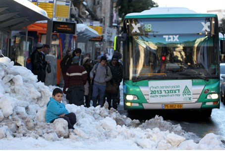Eged Bus in Snow Covered Jerusalem