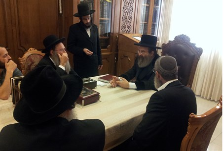 The Sadigura Rebbe with Samaria rabbis