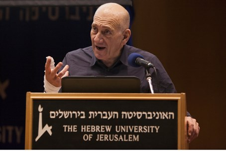 Olmert speaks at Hebrew University, Jan 6 201