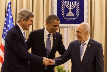 John Kerry, Barack Obama and Shimon Peres