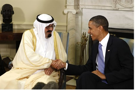U.S. President Barack Obama meets with King A