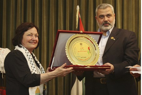 Mairead Maguire and senior Hamas leader Ismai