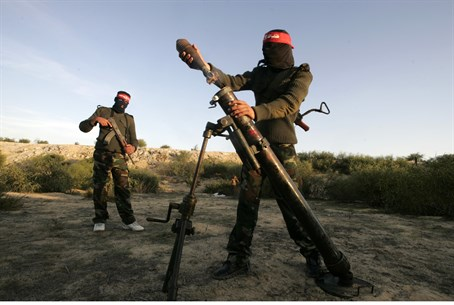 Terrorists preparing to fire mortar round in