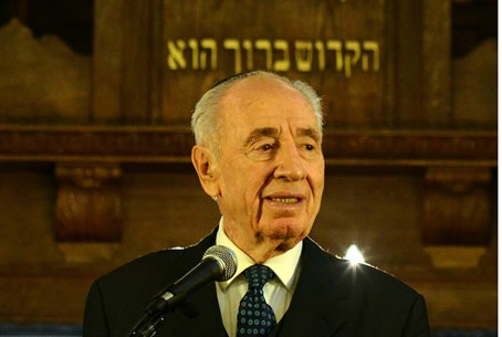 Shimon Peres at the Oslo Central Synagogue