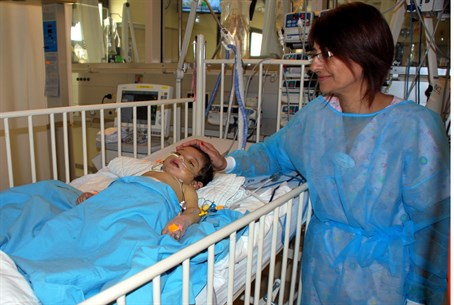 The baby resting calmly ager the operation