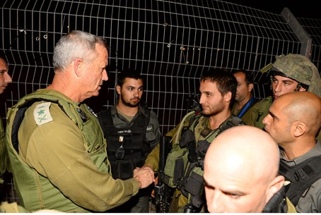 Chief of Staff Benny Gantz at scene of Tapuac