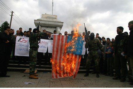 Negotiating? Hamas terrorists burn an America