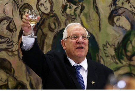 Rivlin toasts MKs during Knesset victory spee