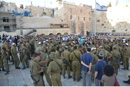 Golani soldiers at the Kotel