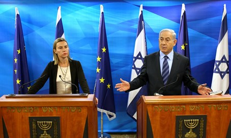 EU foreign policy chief Federica Mogherini with Prime Minister Netanyahu