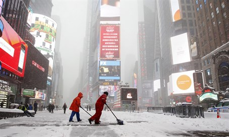 Snowstorm at Times Square, January 23, 2016