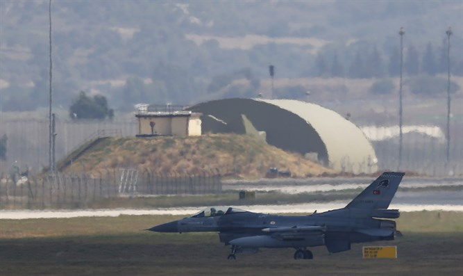 F-16 fighter jet lands at Incirlik air base