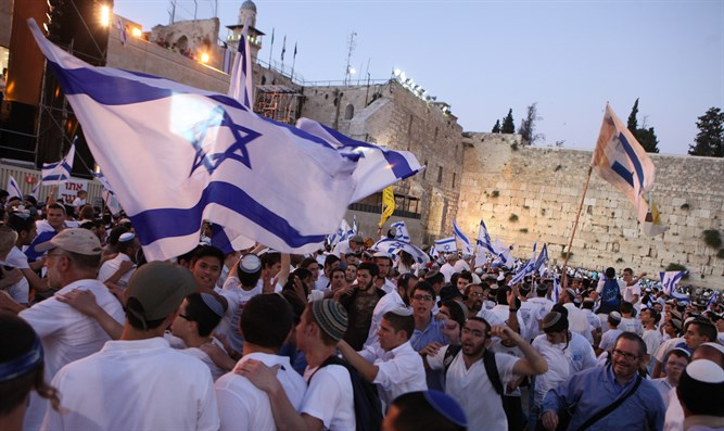Israeli flags at the Western Wall in Jerusalem