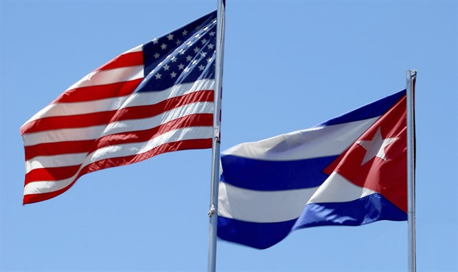 American, Cuban flags