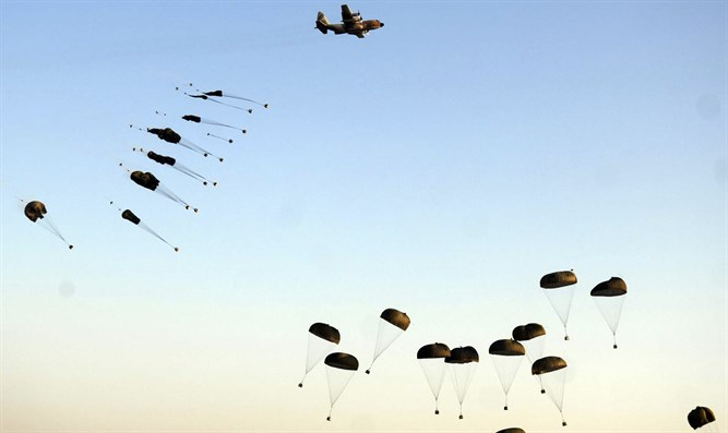 Parachuting soldiers