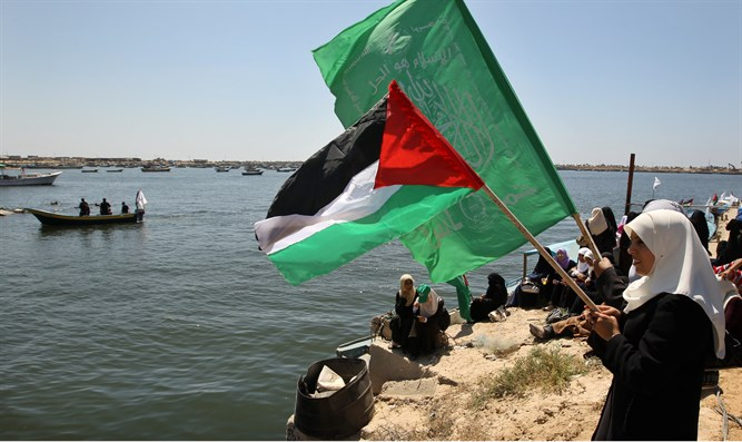 Arab women protest at Gaza port (Illustration)