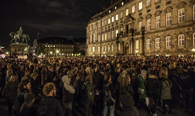 Protest for refugees at Copenhagen, Denmark