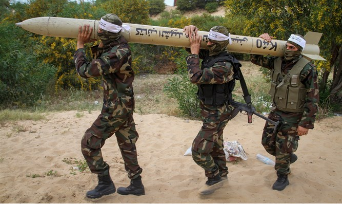 Gaza terrorists with domestic missile