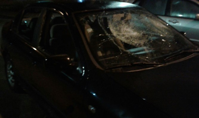 Car after attack by mob of Arabs