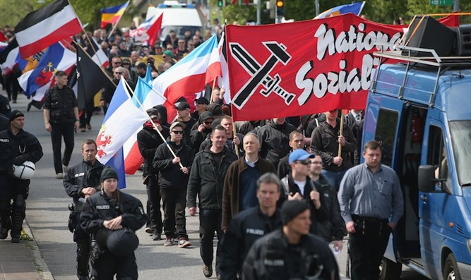NDP supporters march in Rostock, Germany