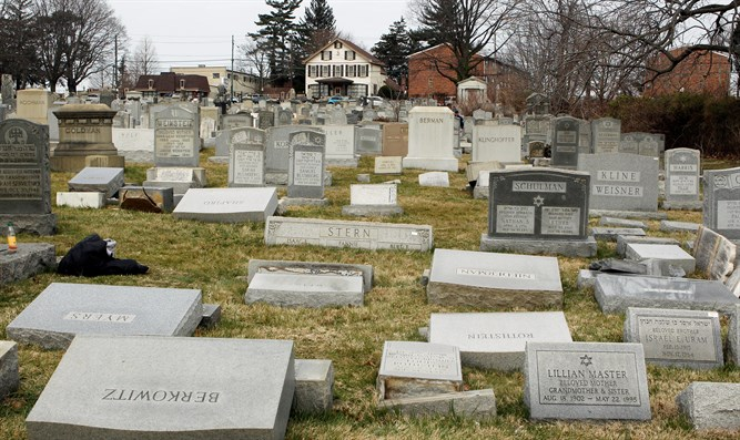 Vandalism in the Mount Carmel Cemetery in Philadelphia