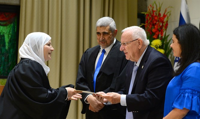 Justice Minister Ayelet Shaked, President Reuven Rivlin, and President of Shariya Court of