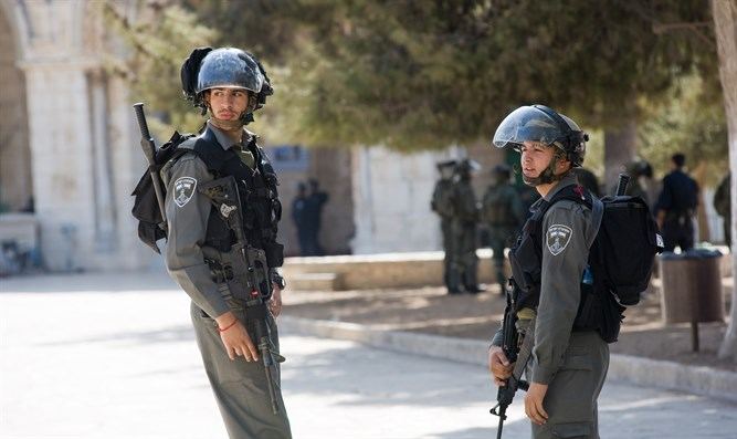 Police officers on the Temple Mount