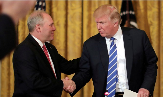 U.S. President Trump shakes hands with Scalise