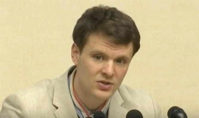 Otto Warmbier confessing to stealing a political poster in North Korea