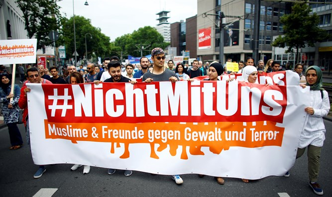 'Not With Us' Muslim anti-terror march in Cologne, Germany