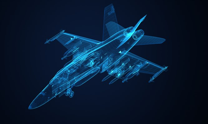 3d Wire Frame sketch of F-18 Hornet