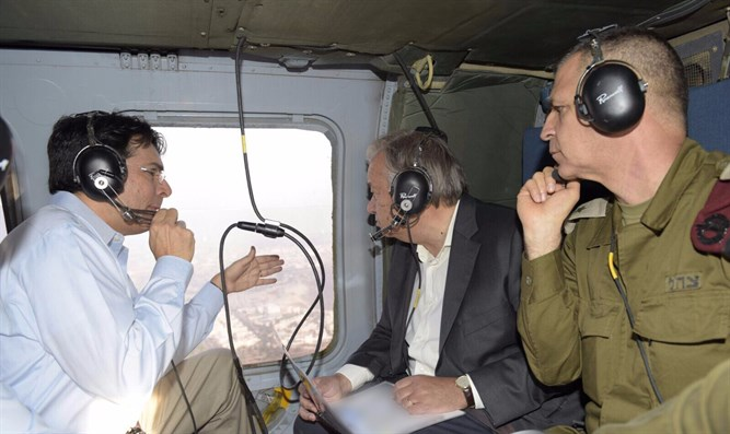 Danny Danon and Antonio Guterres on a helicopter tour