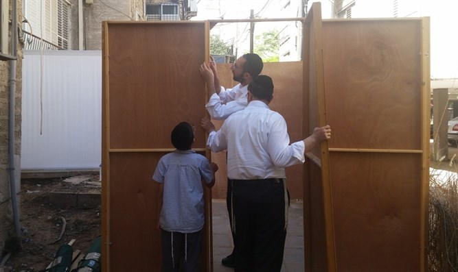 Building a Sukkah for Sukkot holiday